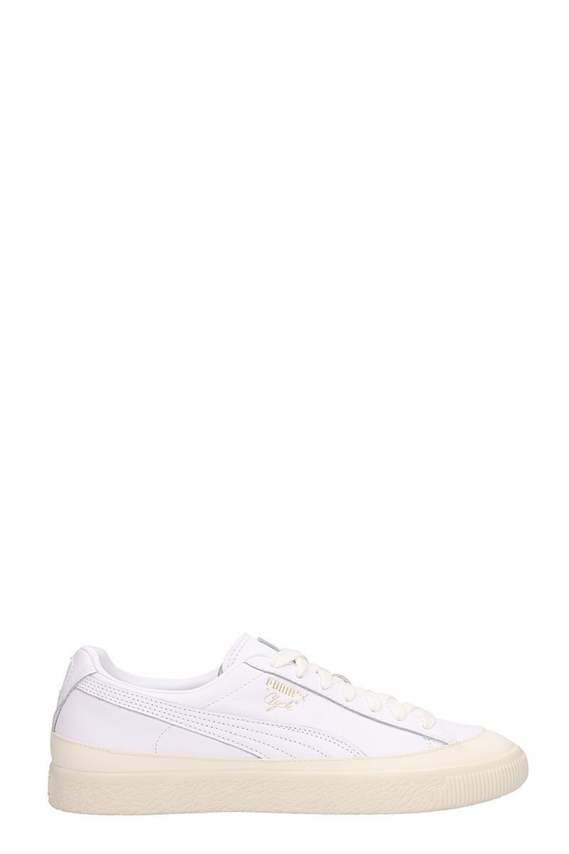 Puma White Leather Low Clyde Rubber Sneakers