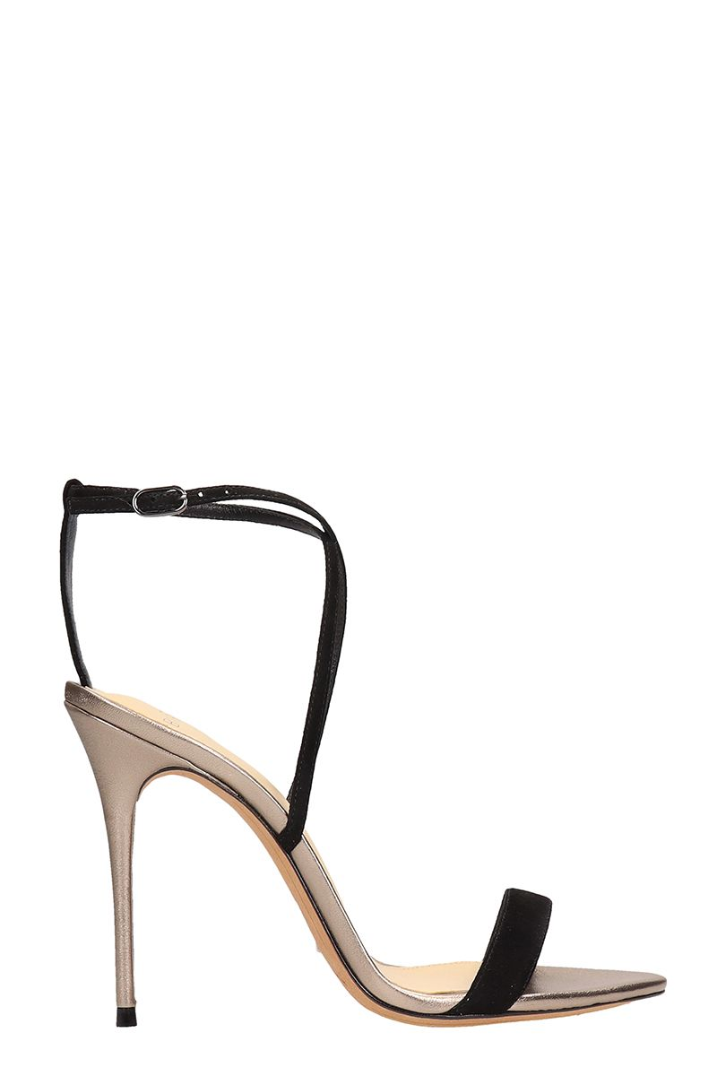 Alexandre Birman Silver-black Leather And Suede Sandals