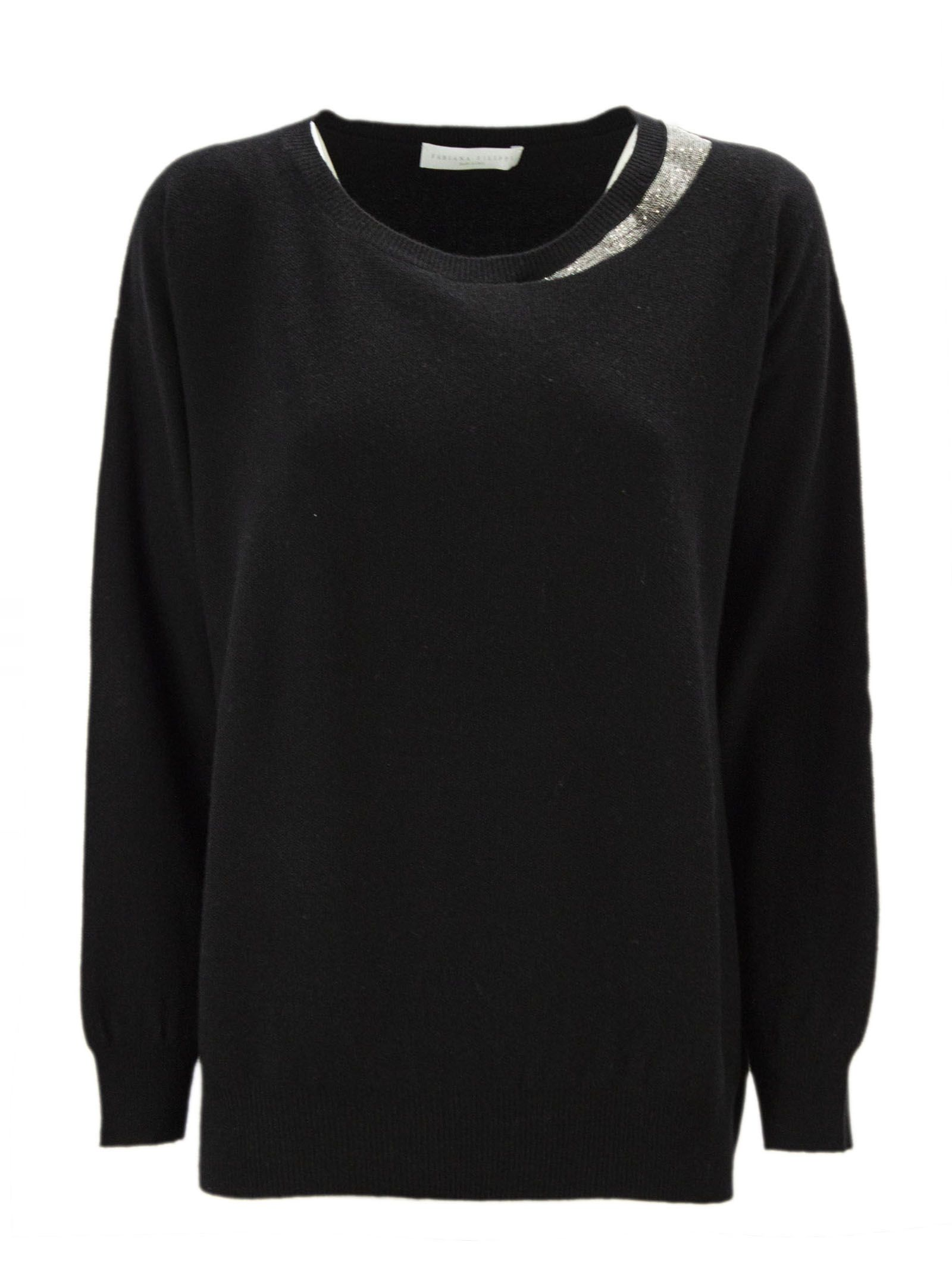 Fabiana Filippi Black Merino Wool Blend Jumper.