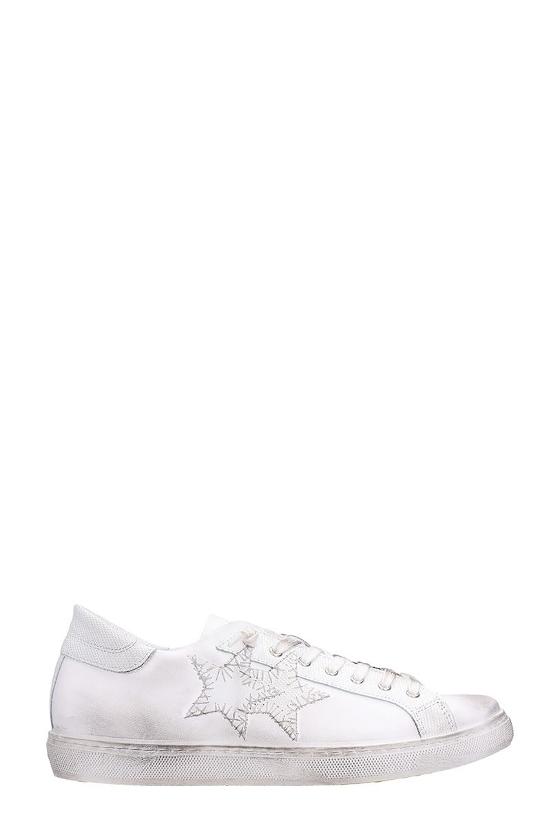 2Star Low White Leather Sneakers