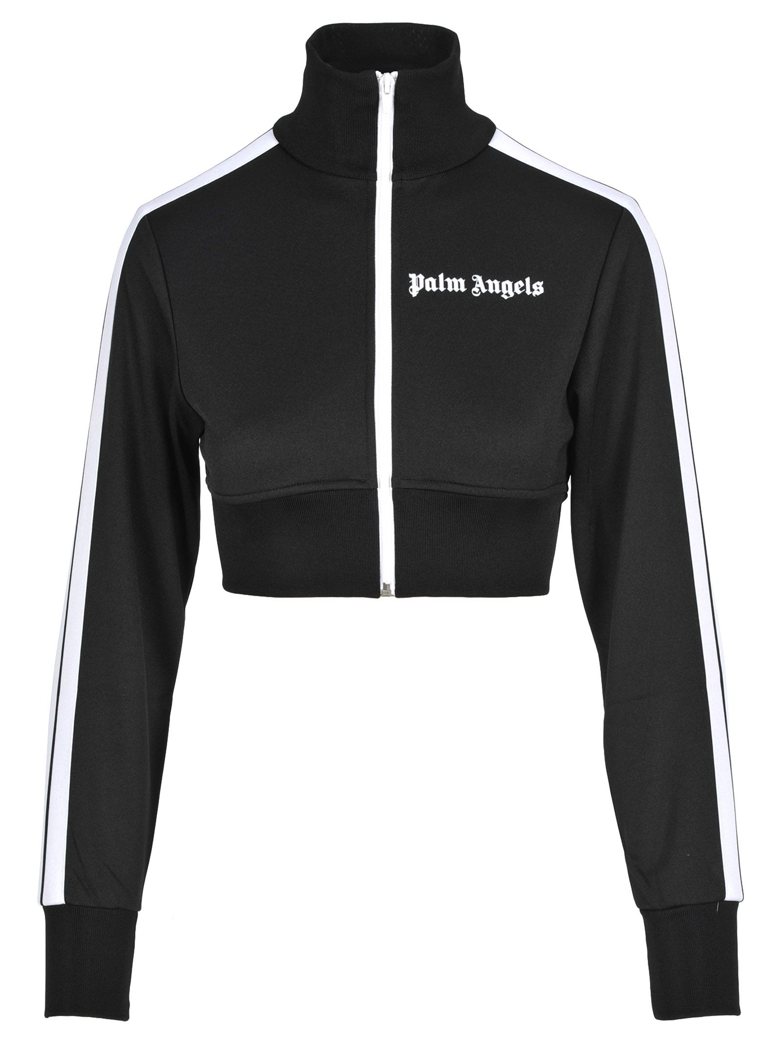 Palm Angels Cropped Track Jkt Black White