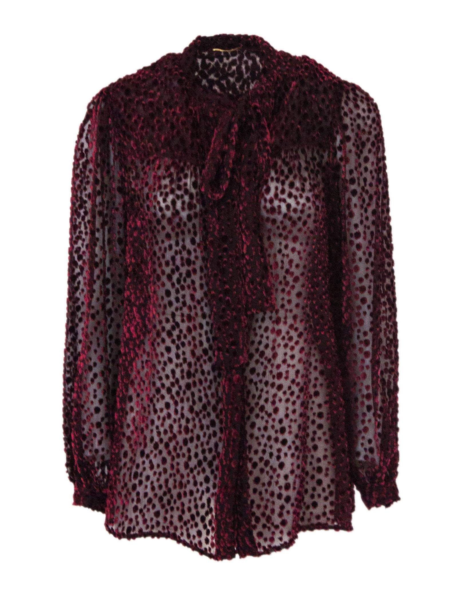Saint Laurent Tie Blouse In Burgundy Dotted Velvet.
