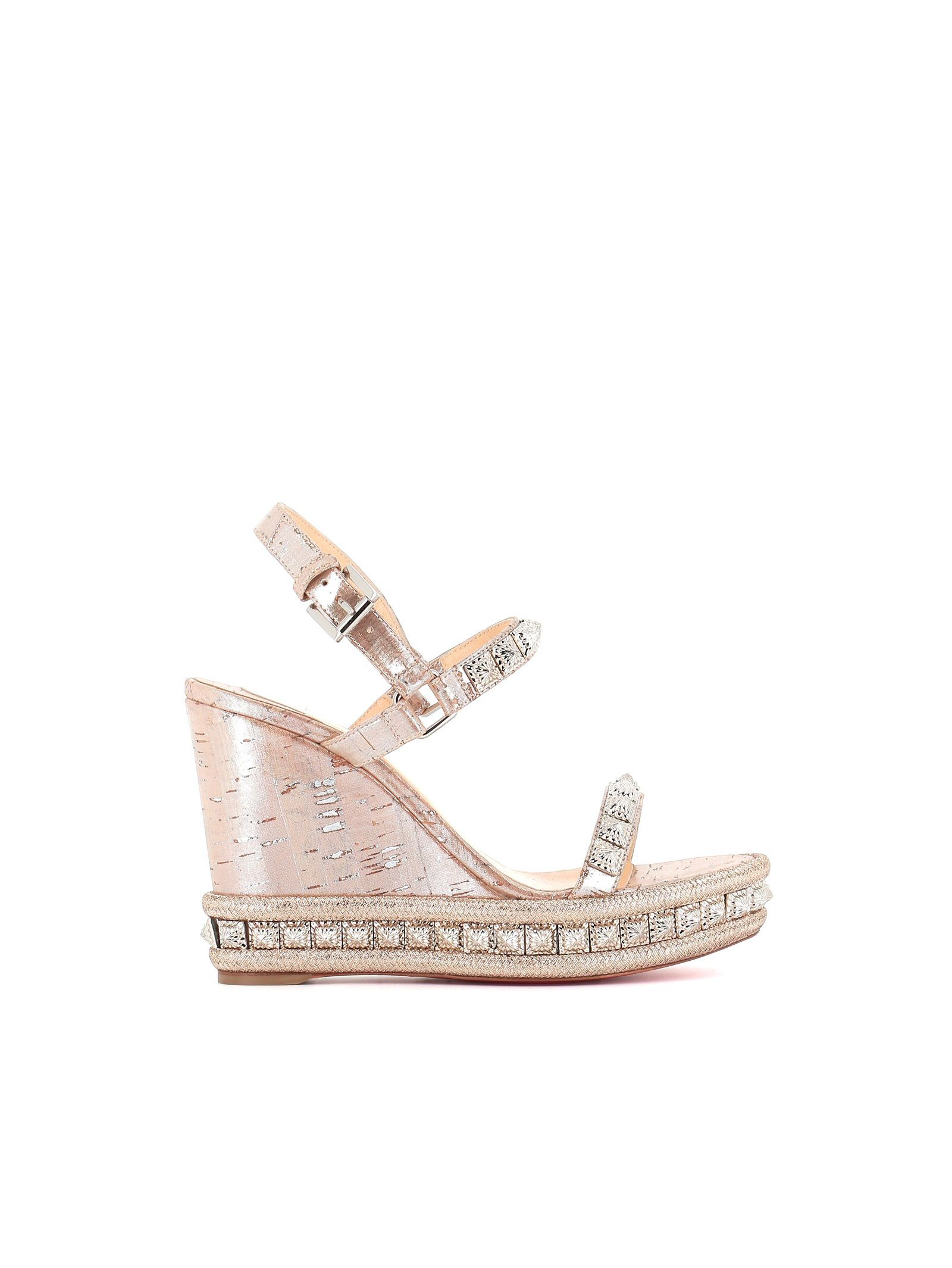 b10e7fc03b Christian Louboutin Pyradiams 110 Spiked LamÉ Wedge Sandals In Silver