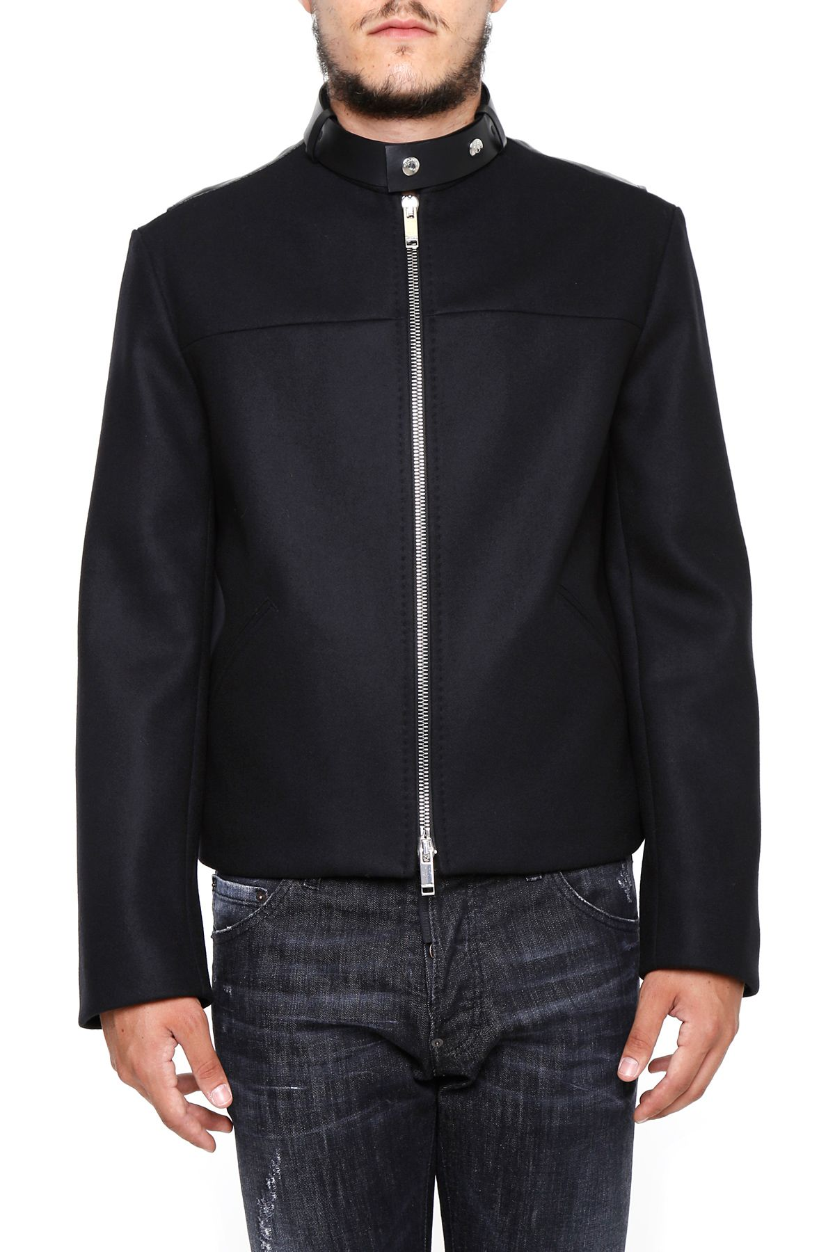 Valentino Leather And Wool Jacket