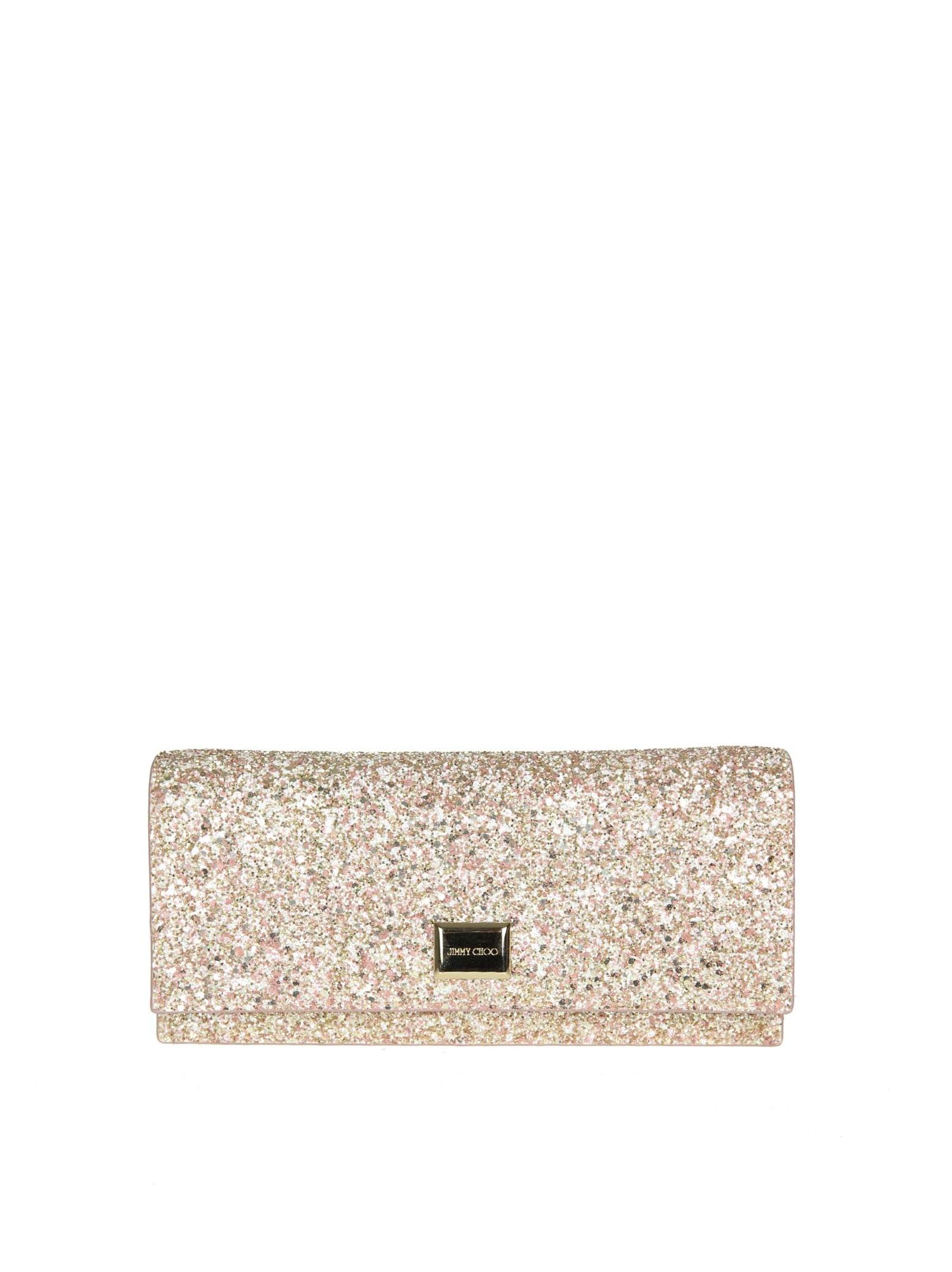 Jimmy Choo Clutch Lilia Agh In Fabric Glitter Color Rosewood
