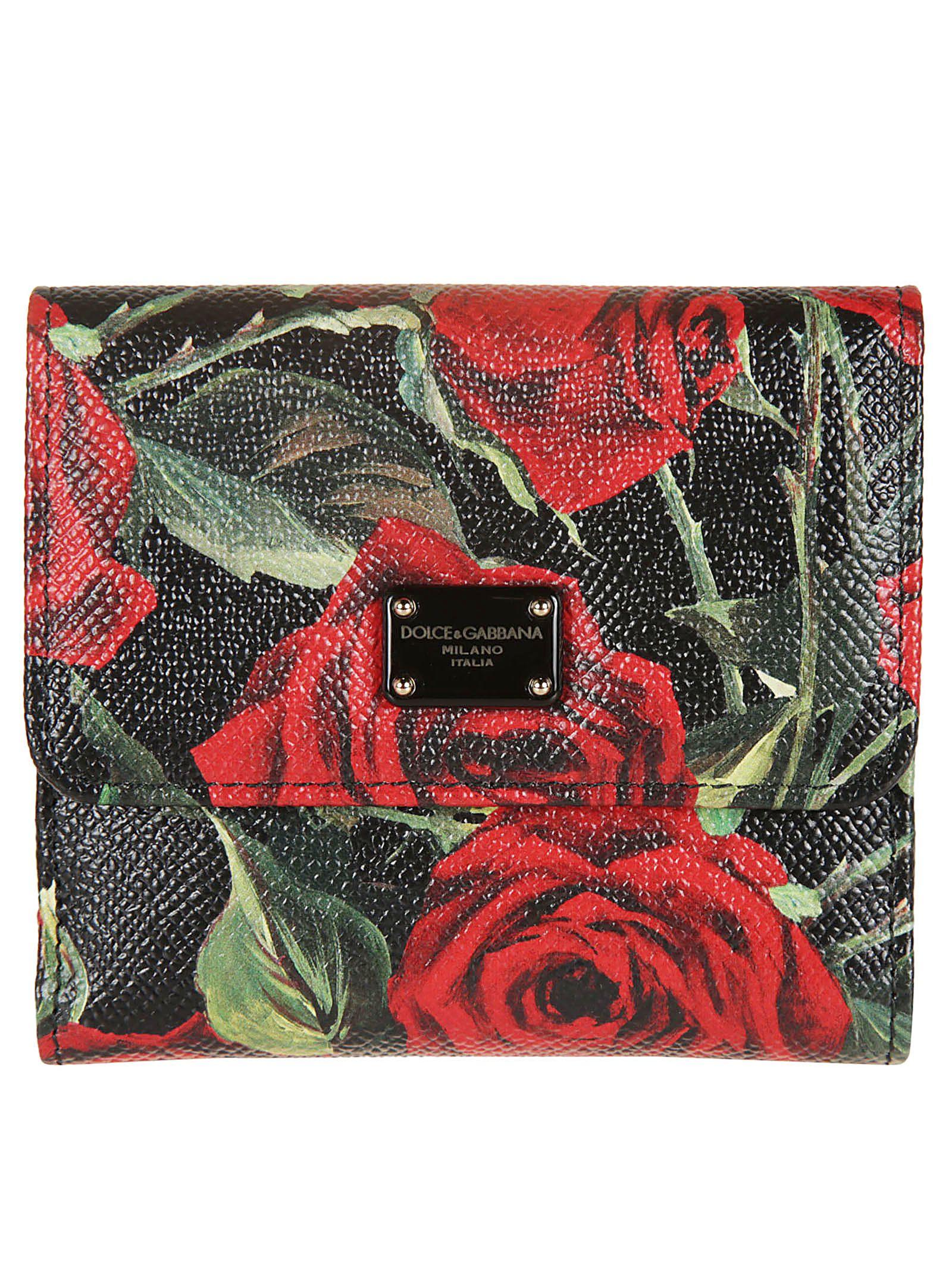 Dolce & Gabbana Floral Print Logo Plaque Wallet