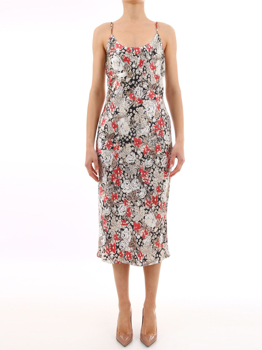 Ganni Satin Floral Dress