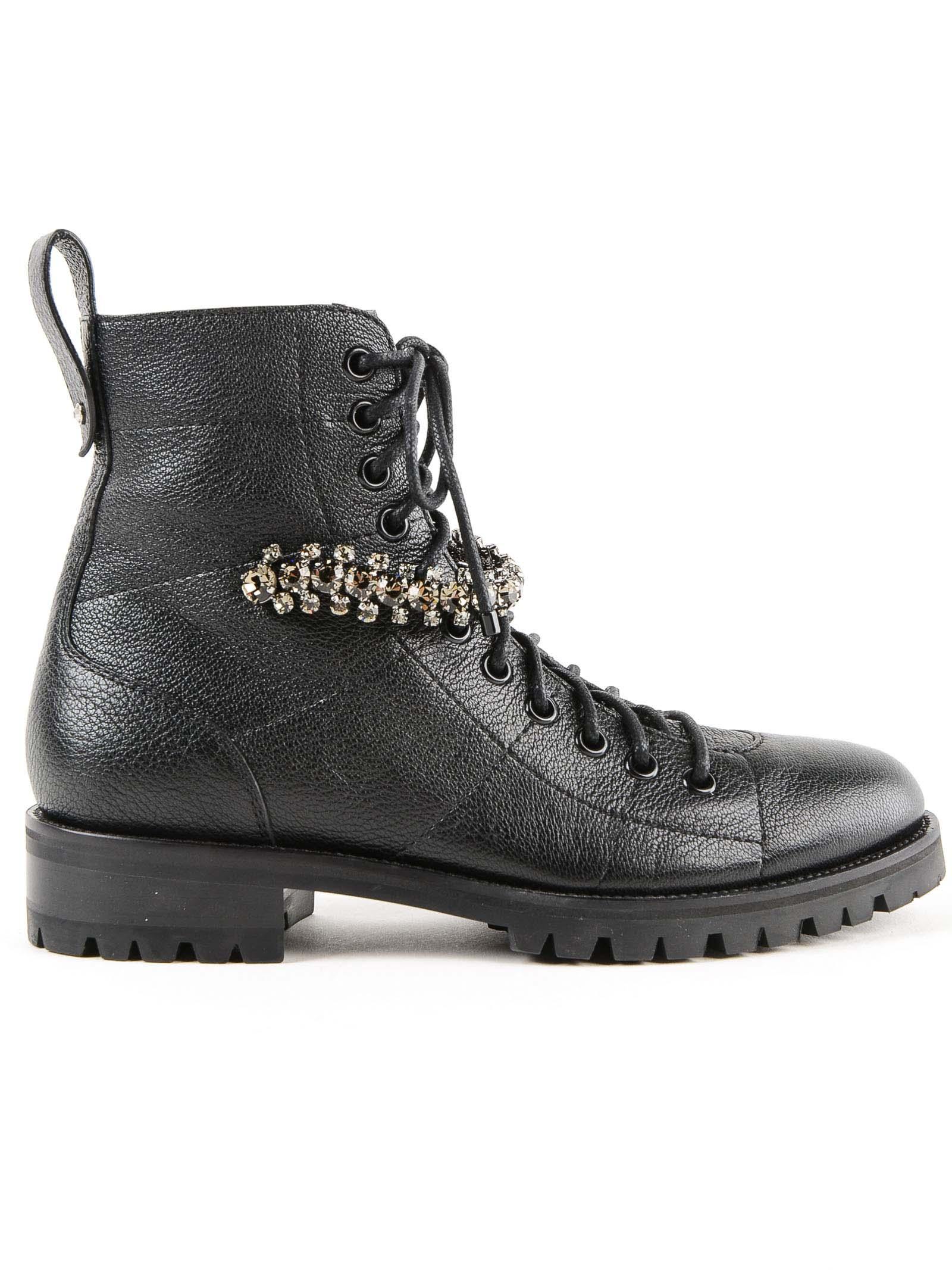 Jimmy Choo Crystal Combat Boots
