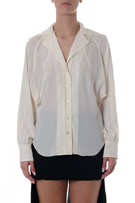 Chloé Butter Cream Silk Lapel Shirt
