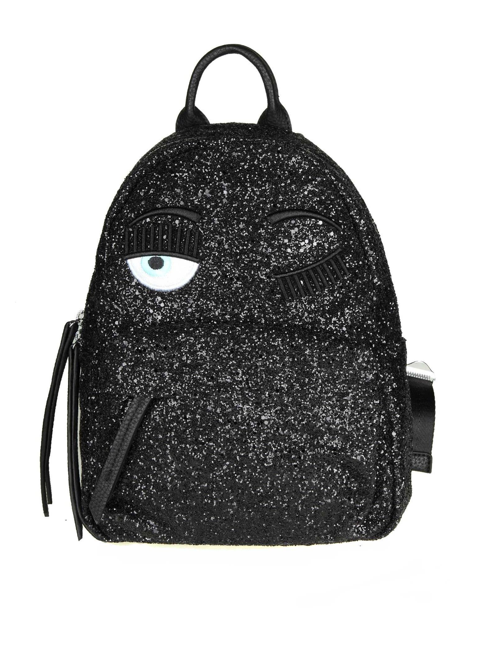 """Chiara Ferragni """"flirting"""" Backpack In Black Glitter"""