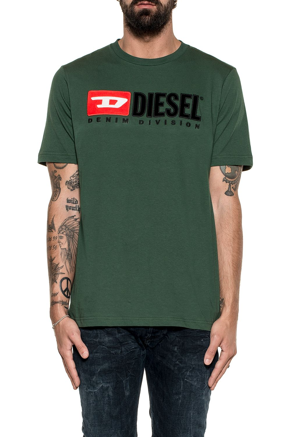 Diesel Green T-just Division Cotton Jersey T-shirt