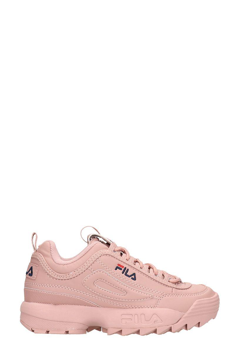 Fila Distruptor Low Pink Leather Sneakrs