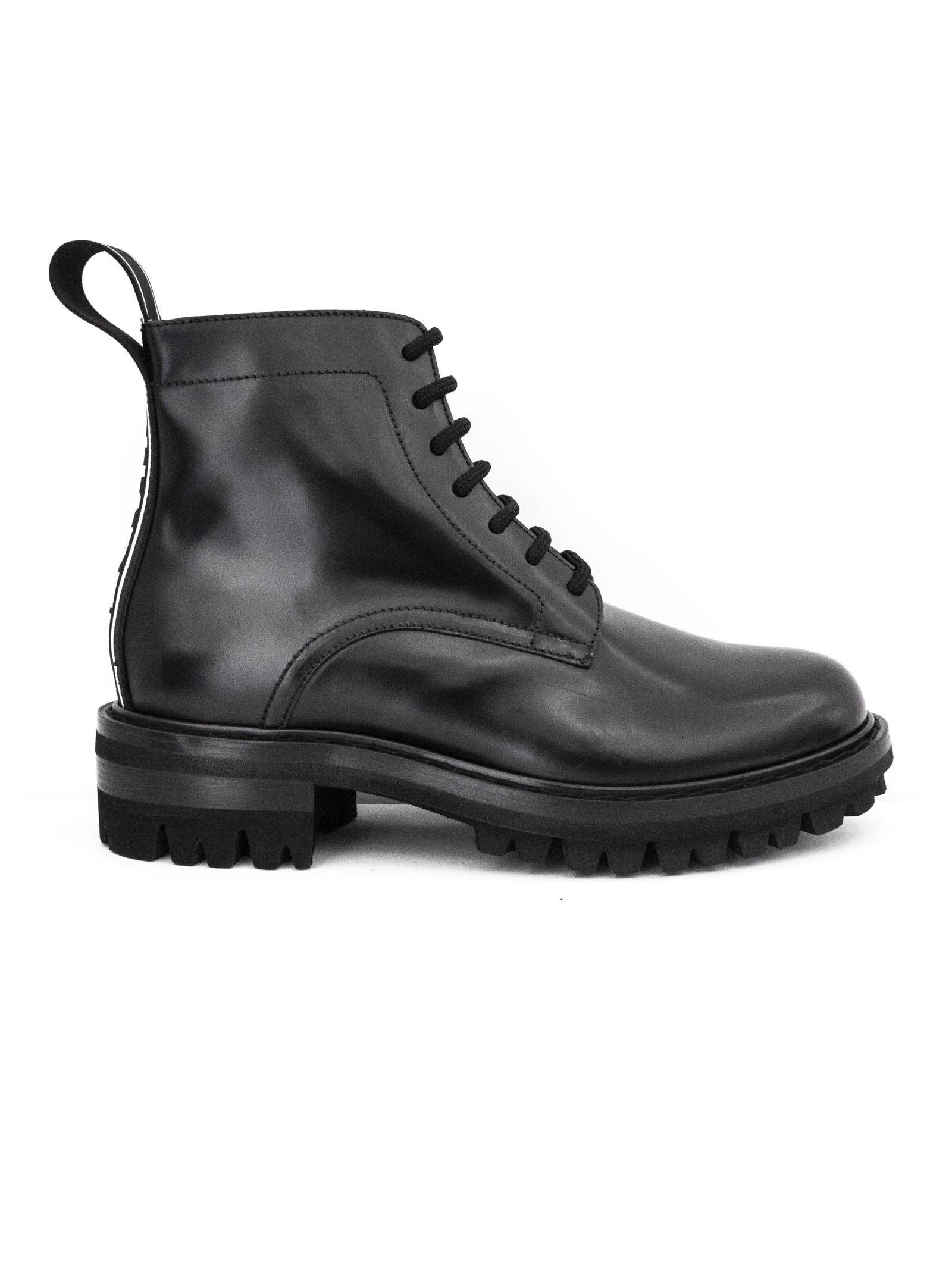 dsquared2 -  Black Calfskin Ankle Boots.