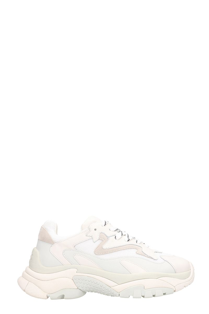 ash -  Atomic White Leather And Fabric Sneakers