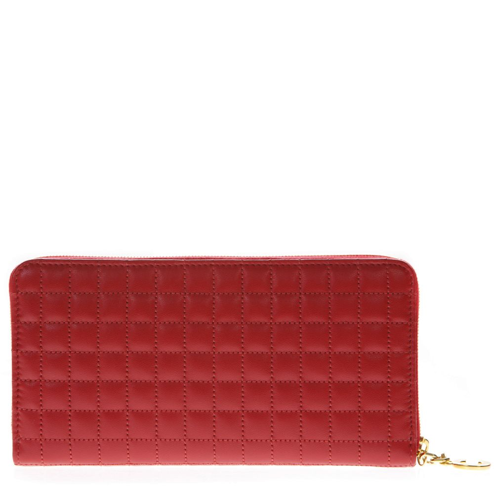Red Quilted Zipped Leather Wallet