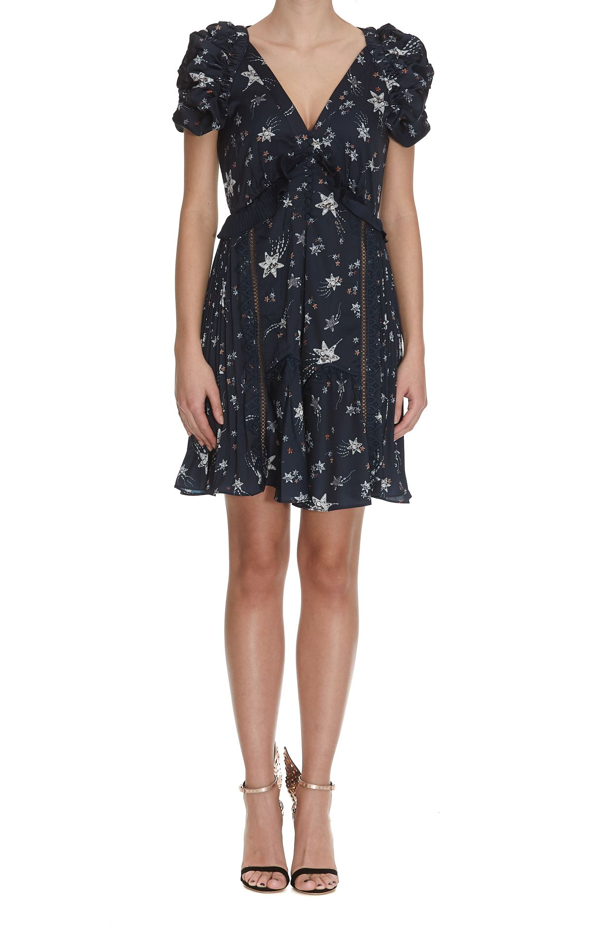 Self-portrait Star Satin Printed Mini Dress