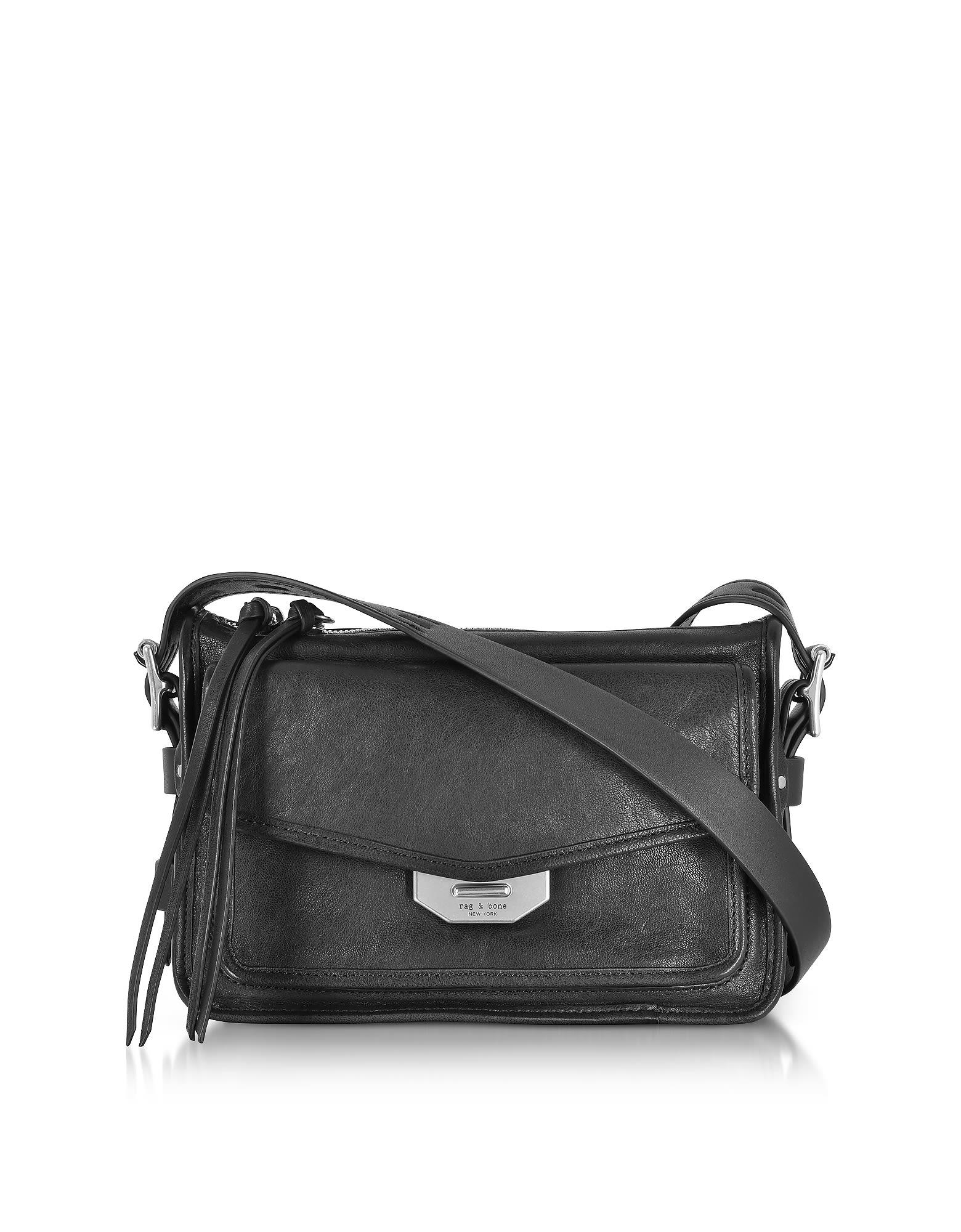 Rag & Bone Black Leather Small Field Messenger Bag