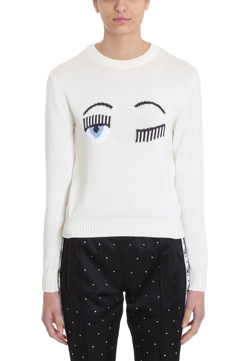 Chiara Ferragni Flirting Eye White Sweater