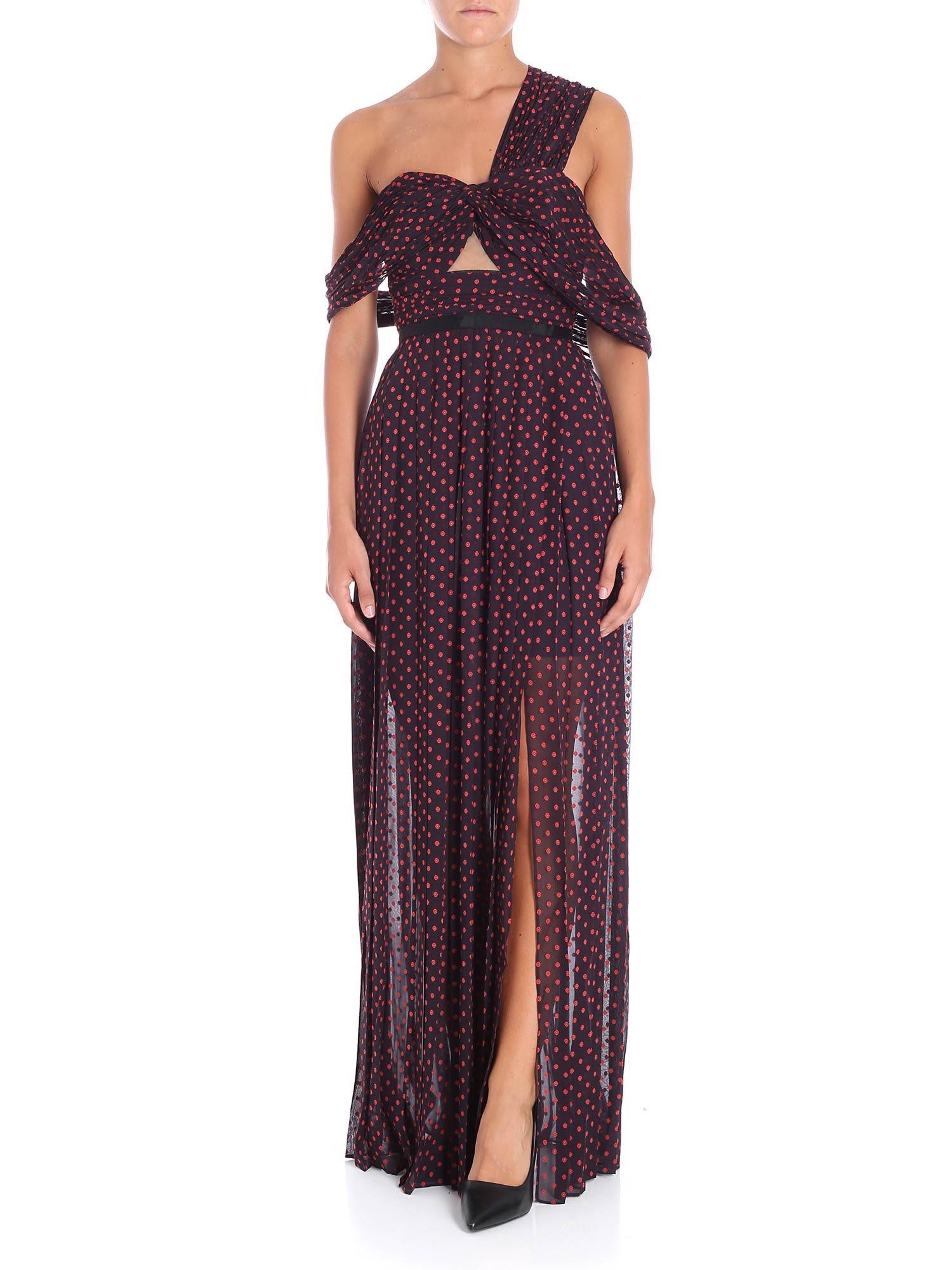 Self-portrait Asymmetric Polka-dot Dress