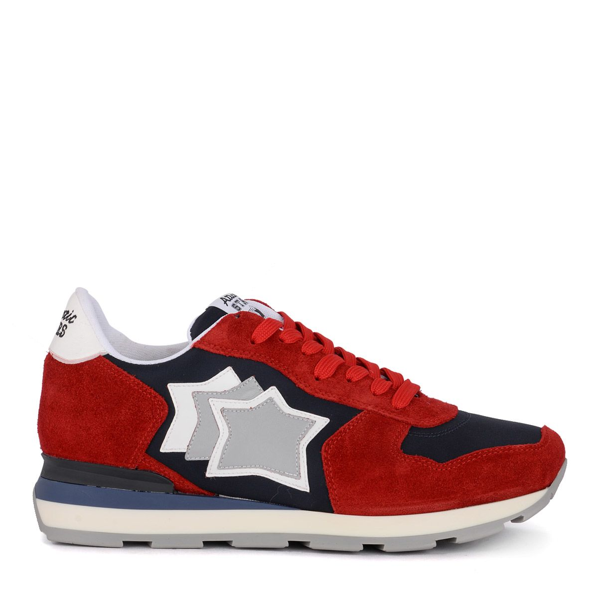 Sneaker Atlantic Stars Antares Red Suede And Blue Fabric