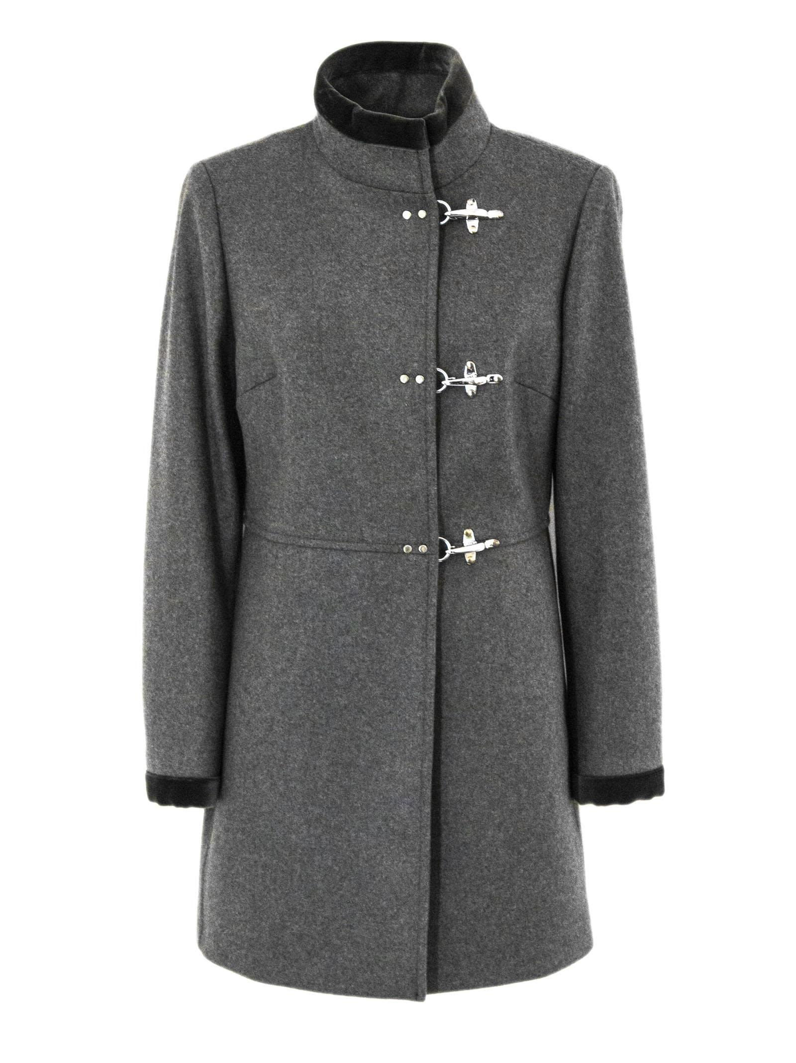 Fay Virginia Coat In Grey Cashmere Wool Mix.