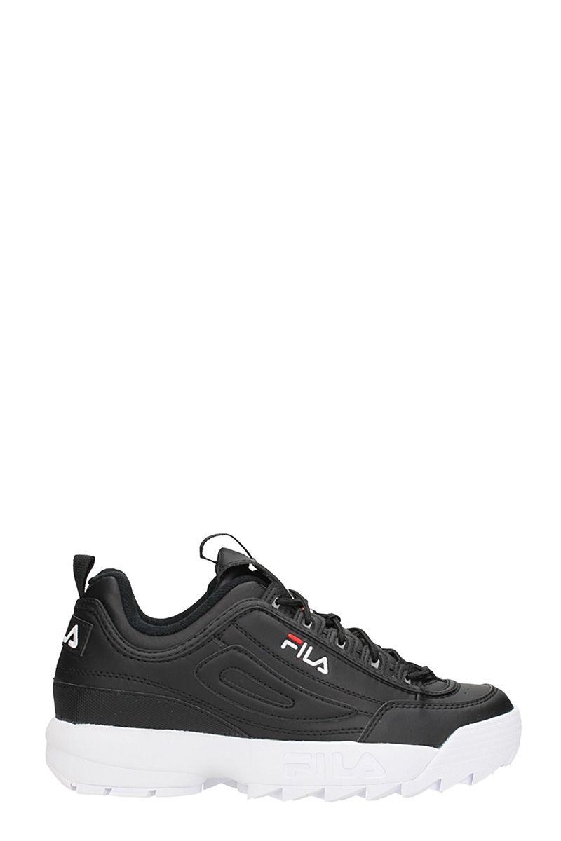 Fila Disruptor Low Black Leather Sneakers