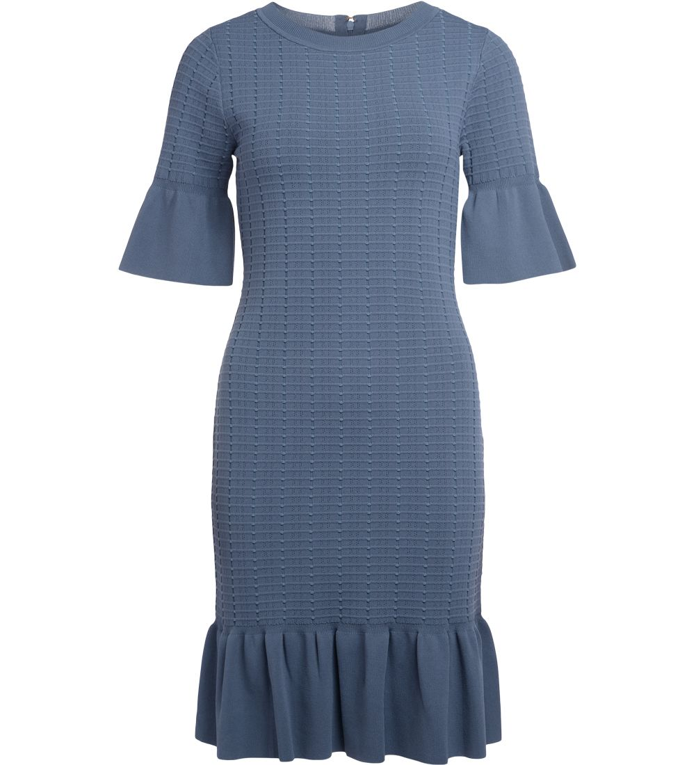 Michael Kors Blue Stockinette Dress With Rouches