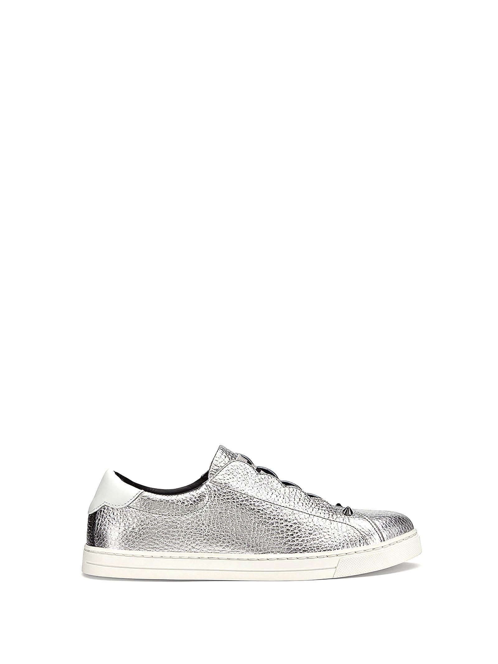 Fendi Slip On In Silver Calf Leather