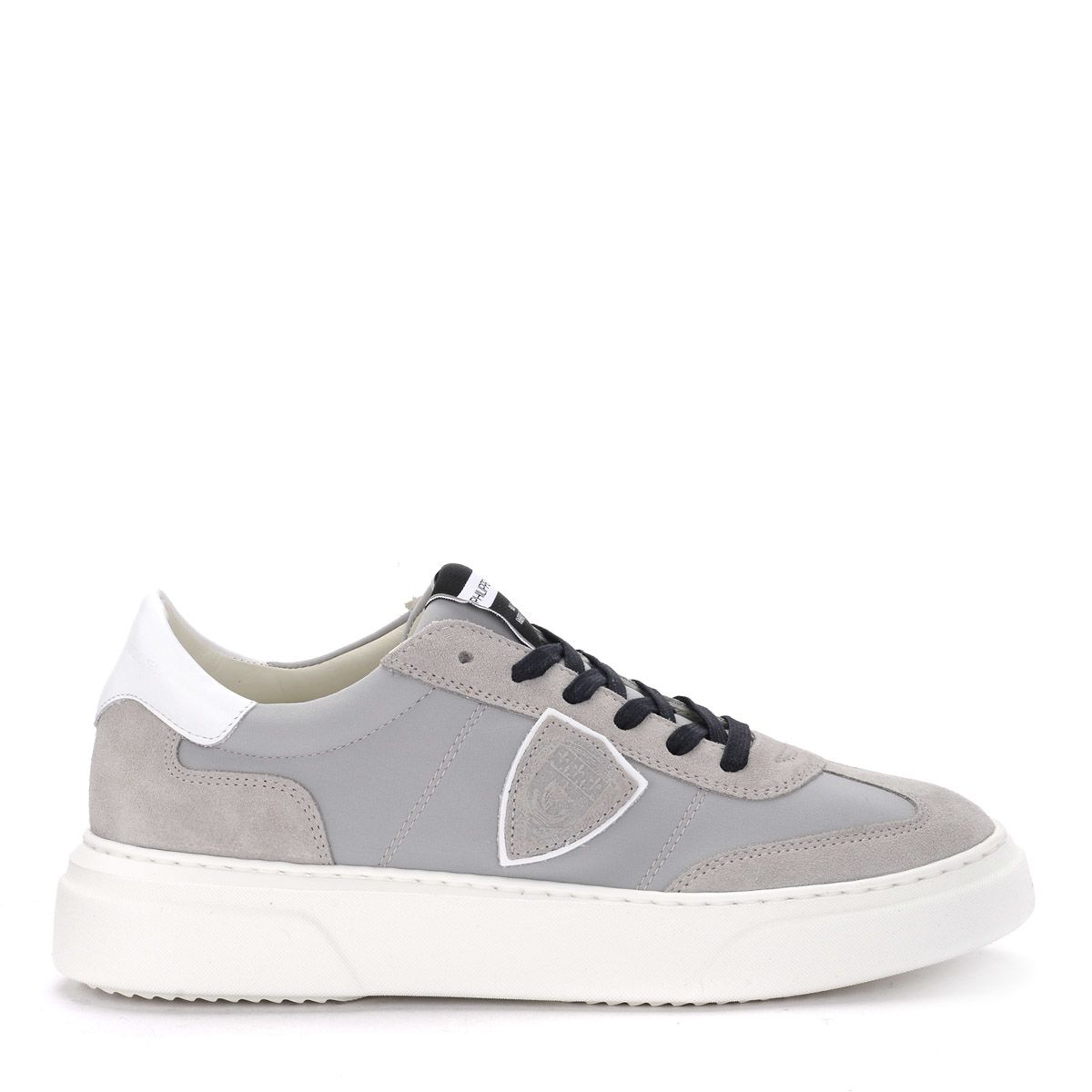 Philippe Model Temple Grey Suede And Fabric Sneaker