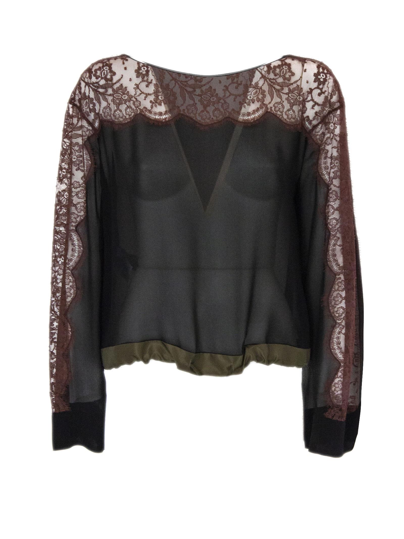 Alberta Ferretti Blouse In Black And Brown Silk