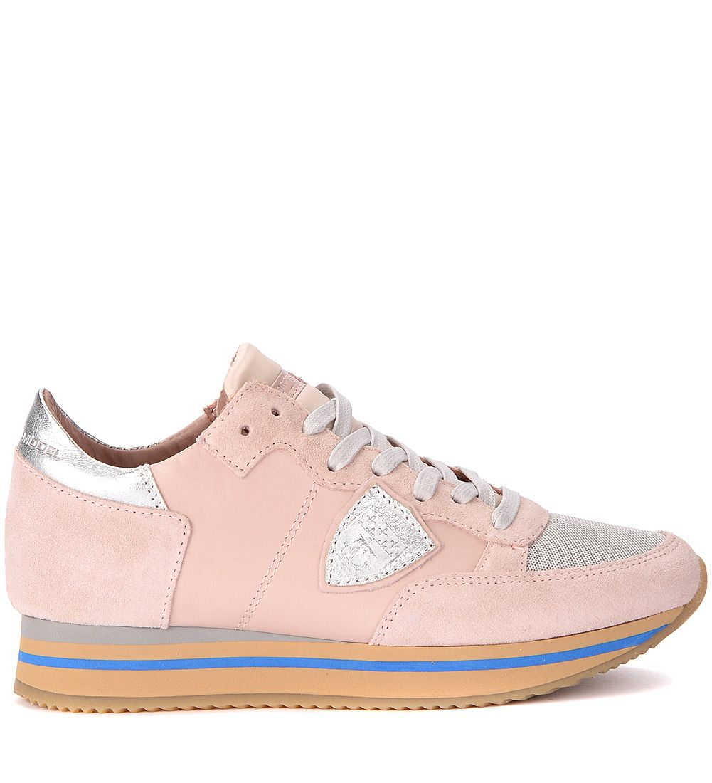 Philippe Model Tropez Pink And Silver Leather Suede And Leather Sneakers
