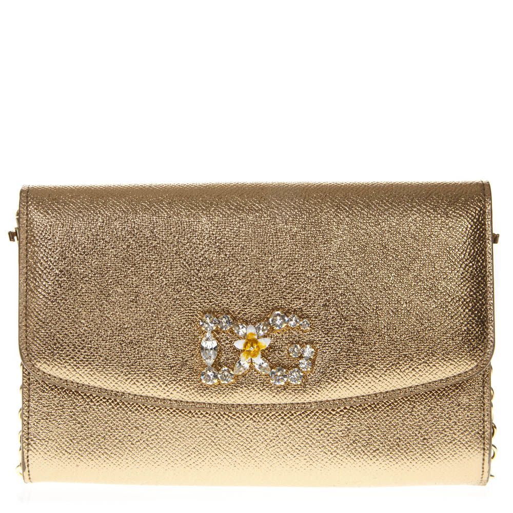 Dolce & Gabbana Golden Leather Wallet On Chain