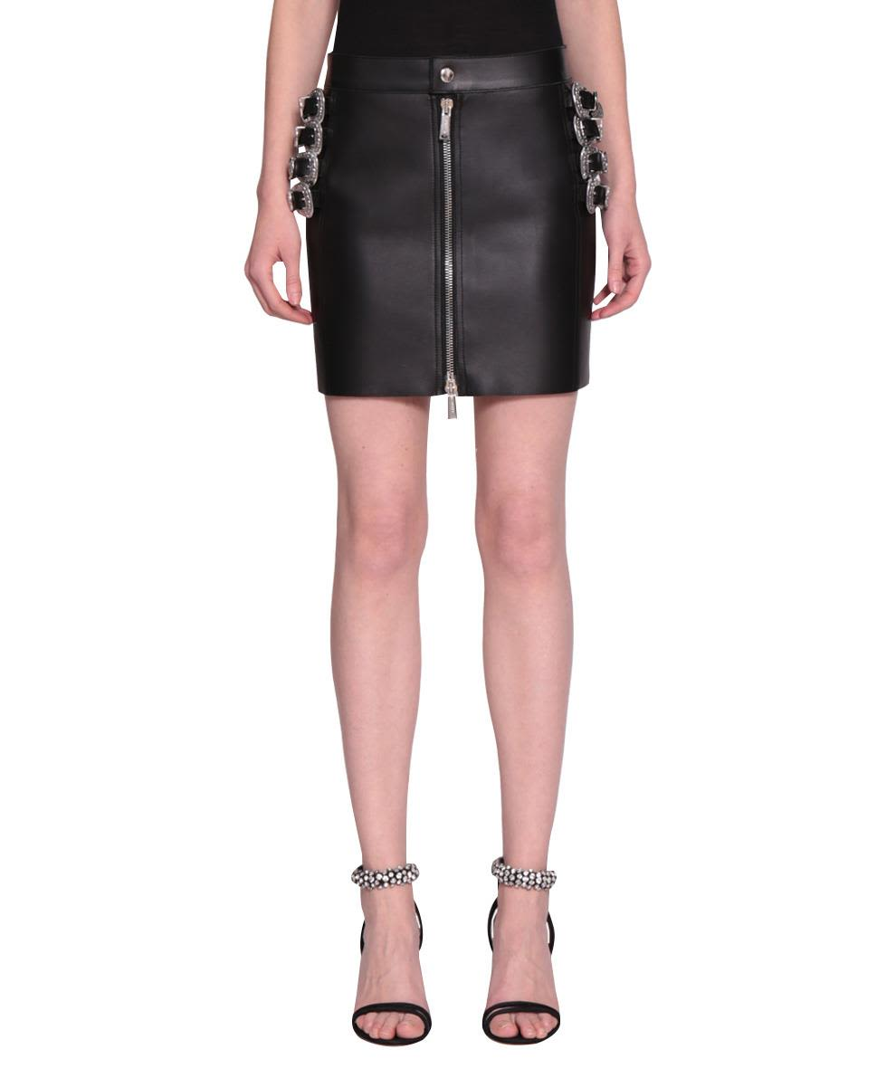 dsquared2 -  Leather Buckled Skirt