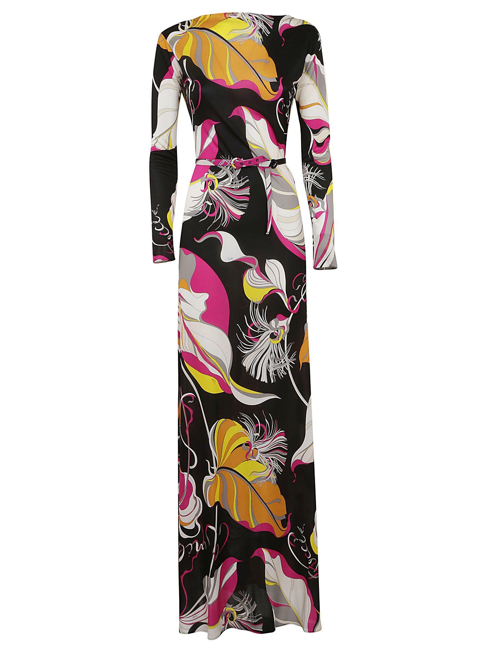Emilio Pucci Leafy Print Long Dress