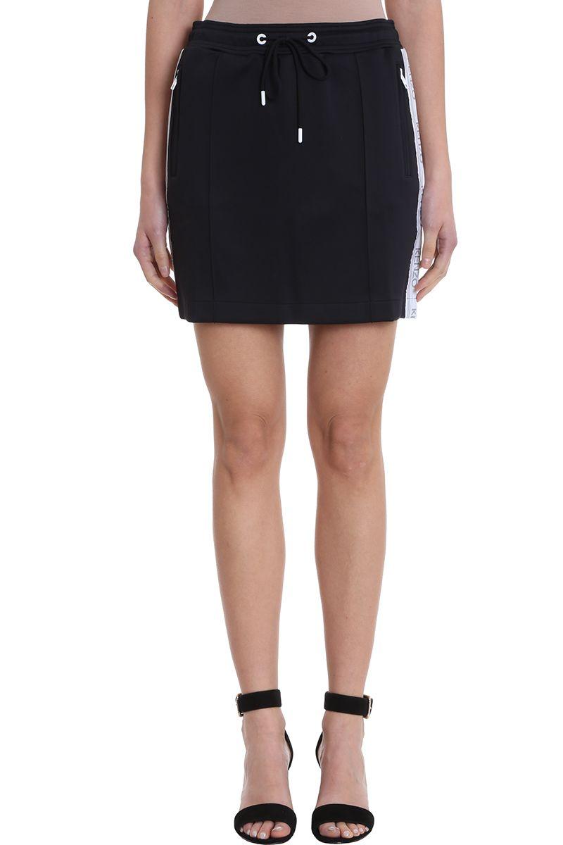 Kenzo Black Crepe Logo Skirt