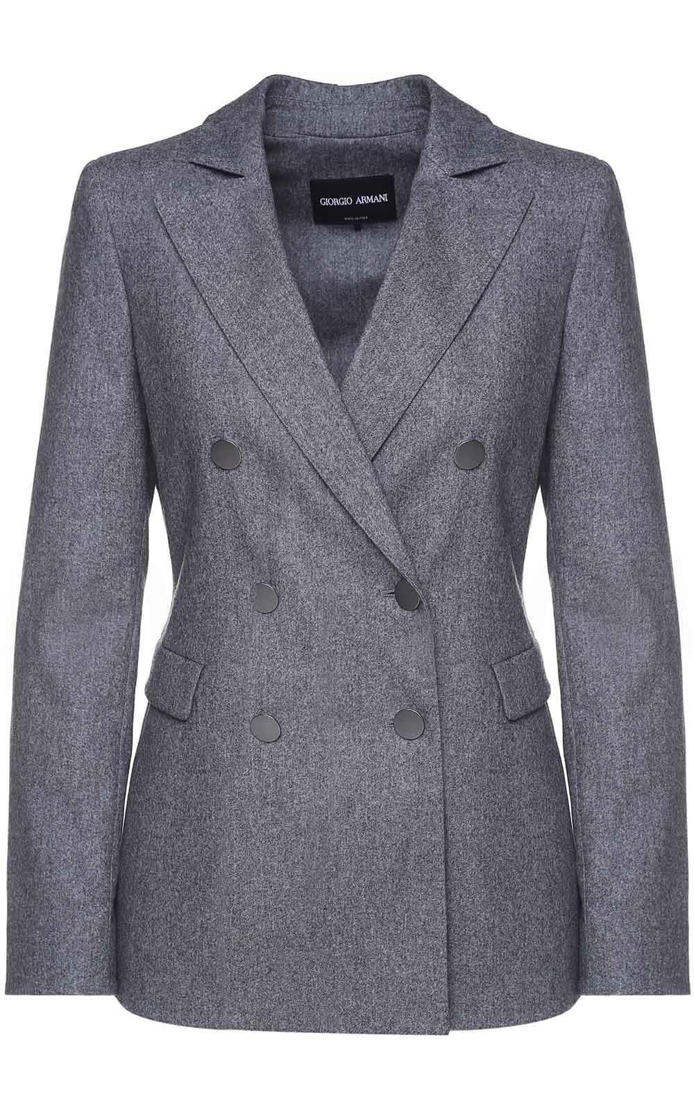 Giorgio Armani Double-breasted Cotton Cashmere And Wool-blend Blazer