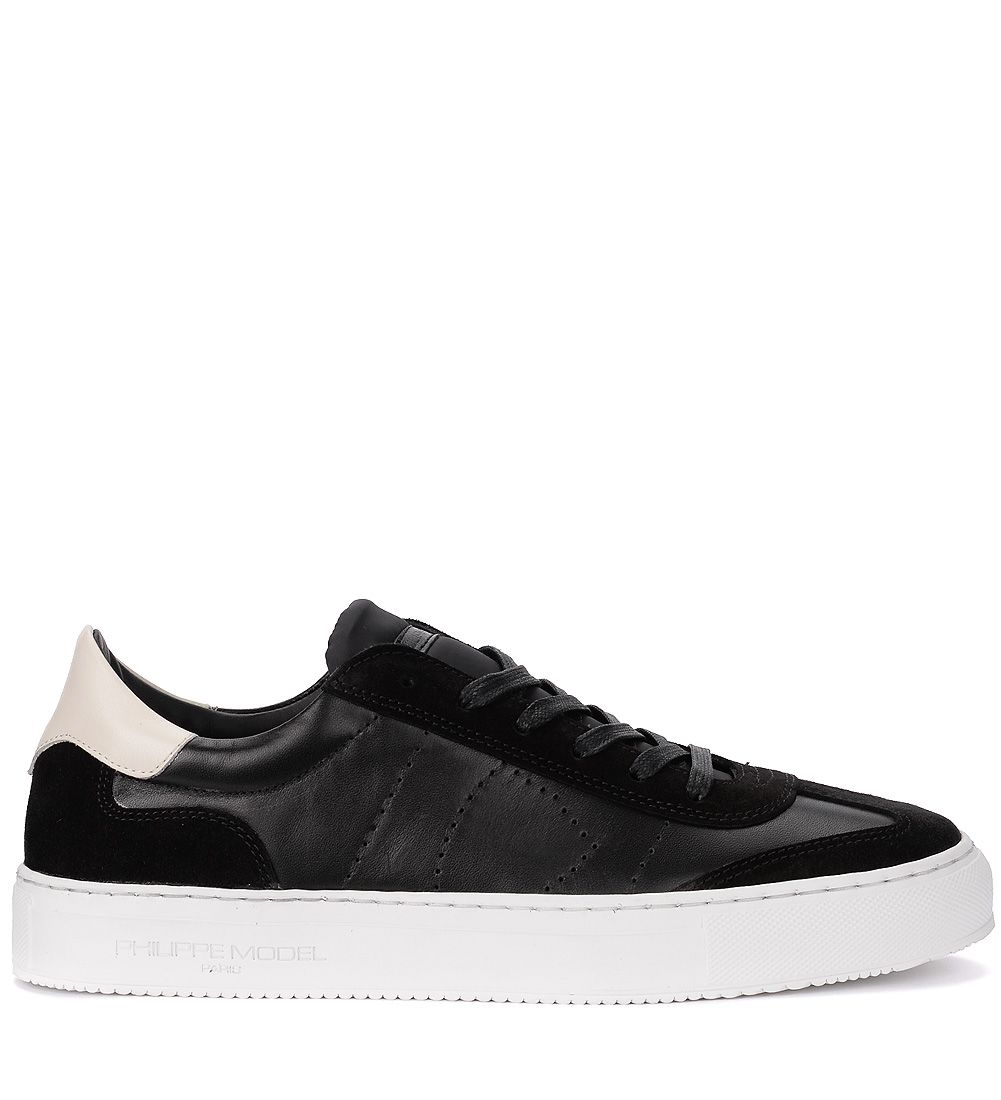 Philippe Model Belleville Black And Suede Leather Sneaker