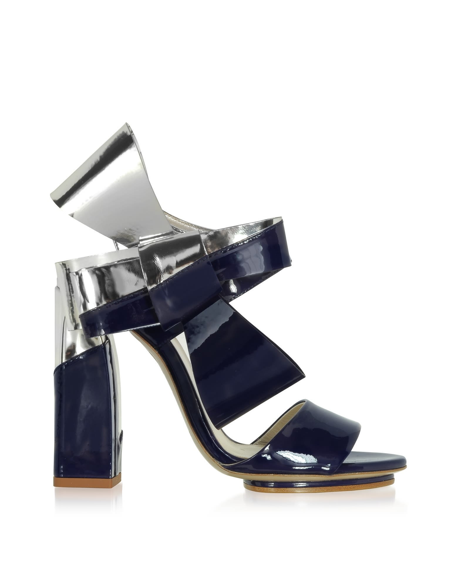 Delpozo Silver And Navy Blue Patent Leather Bow Sandals