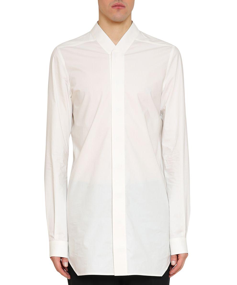 Rick Owens White Cotton Poplin Faun Shirt