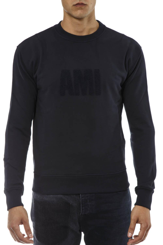 Ami Alexandre Mattiussi Blue Navy Cotton Sweatshirt