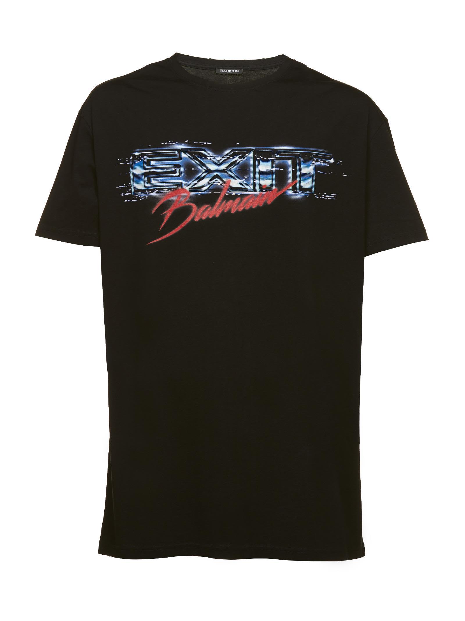 Oversized T-shirt From Balmain: Black Oversized T-shirt With Round Neck, Short Sleeves, Printed Deta