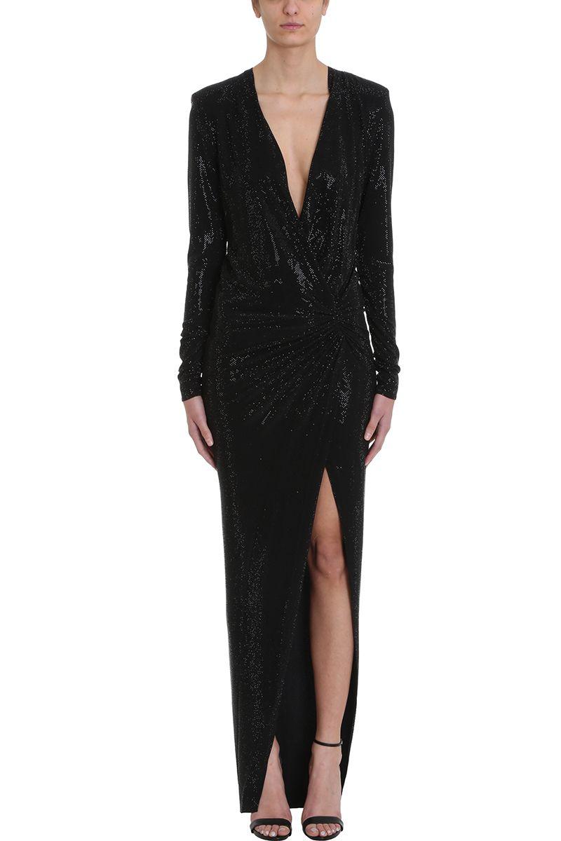 Alexandre Vauthier Crystalized Black Long Dress