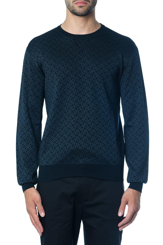 Salvatore Ferragamo Navy Wool-silk Blend Gancino Print Jumper