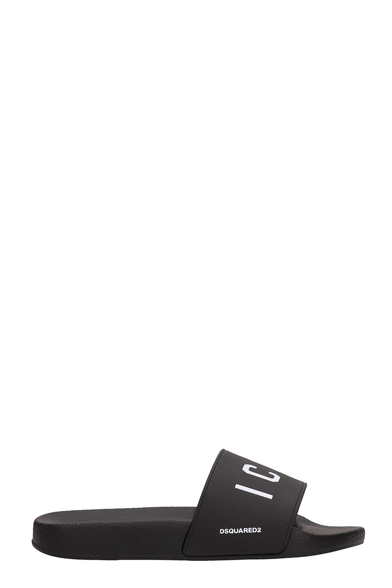 Dsquared2 Black Rubber Flat Sandals