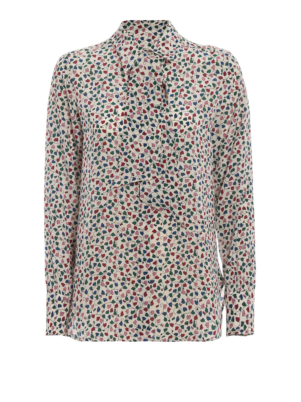 Max Mara Ofelia Multicolour Hearts Print Silk Shirt