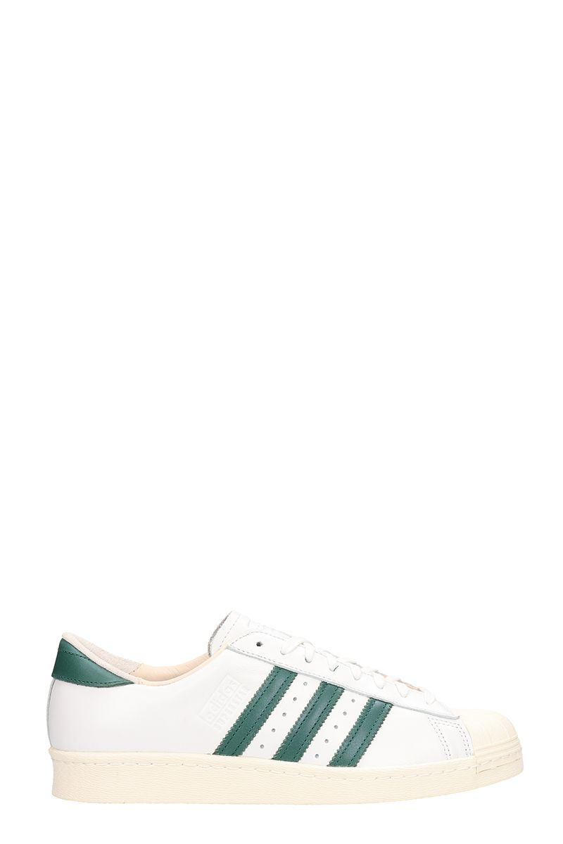 Adidas S.star 80s Reco White And Green Leather Sneakers