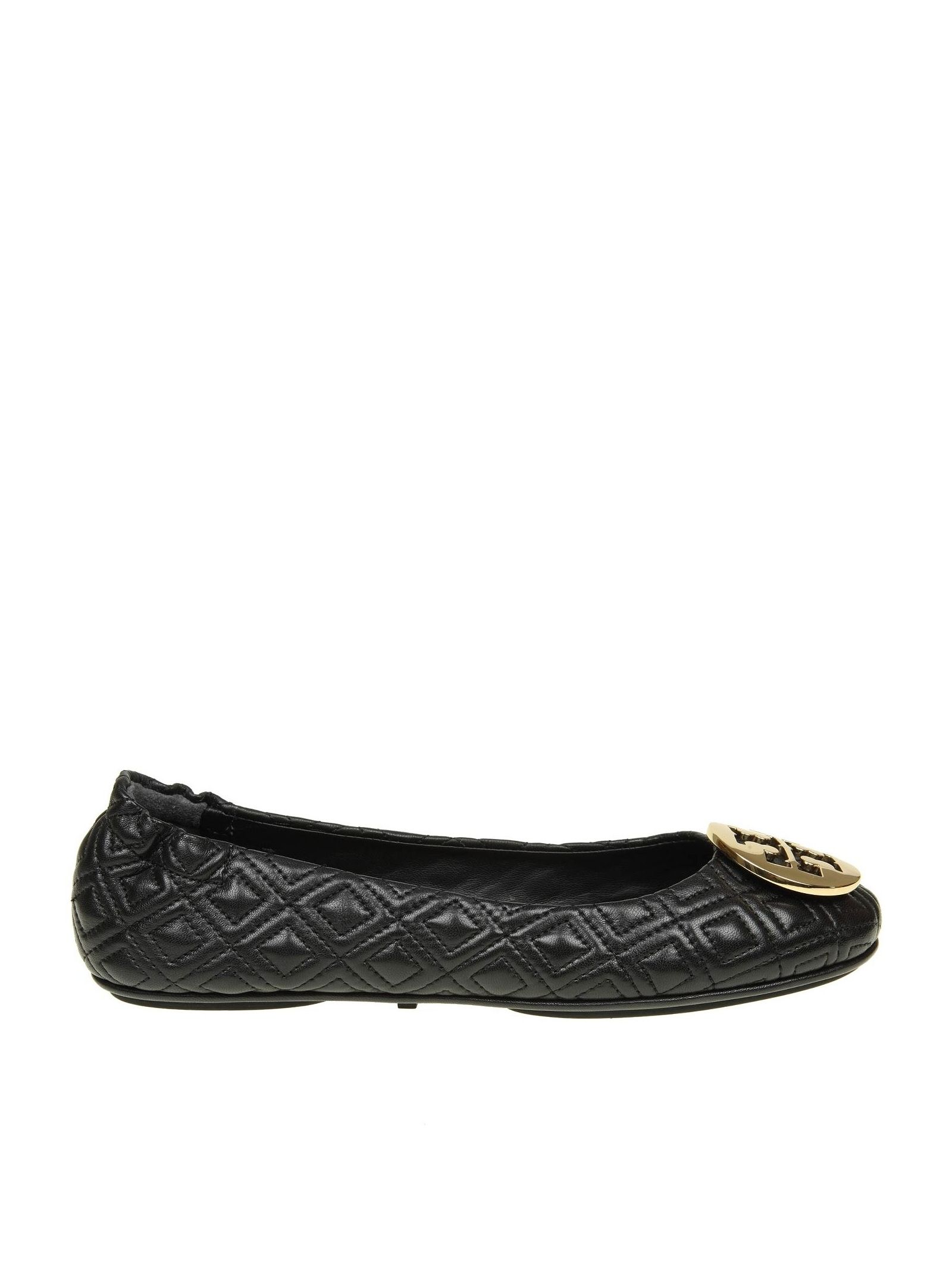 """Tory Burch """"quilted Minnie"""" Ballerina In Black Color Leather"""
