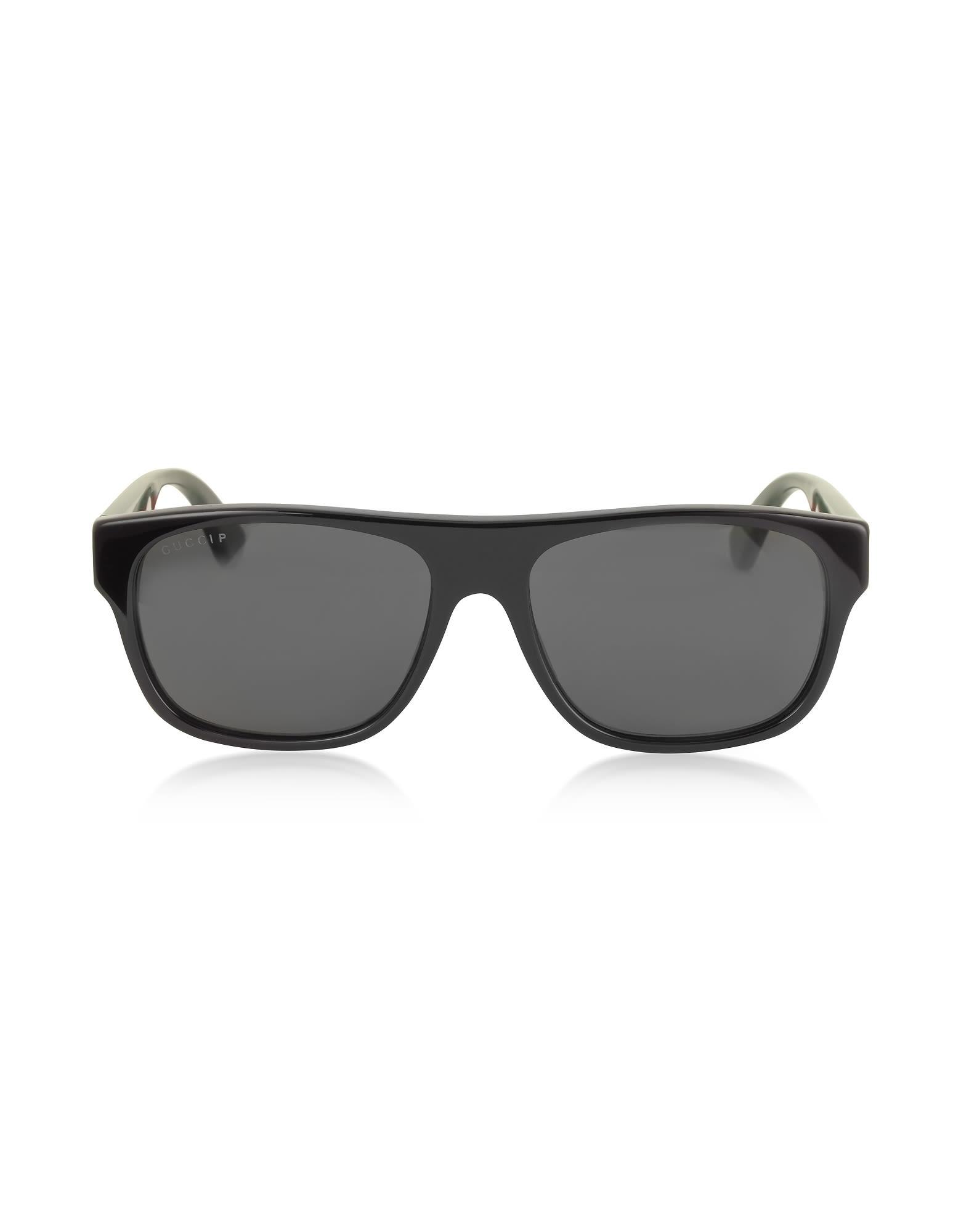 874f3e19ae3 Gucci Gg0341S Rectangular-Frame Acetate Sunglasses In Black Gray ...