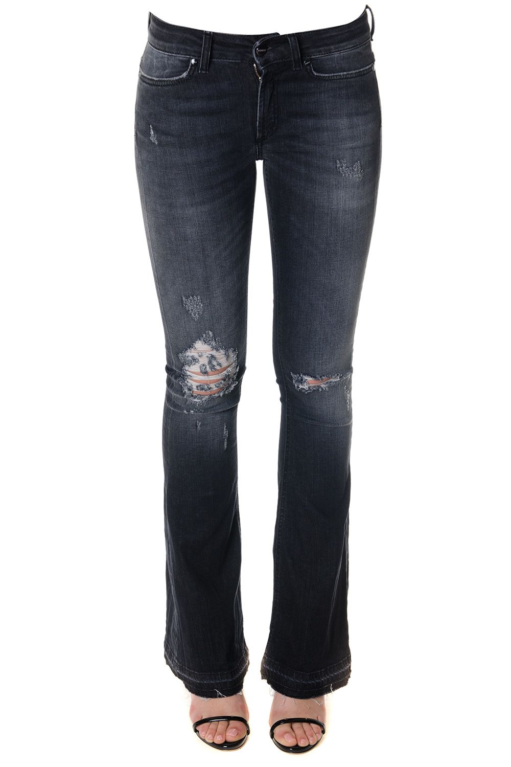 Dondup Black Flared Teared Jeans