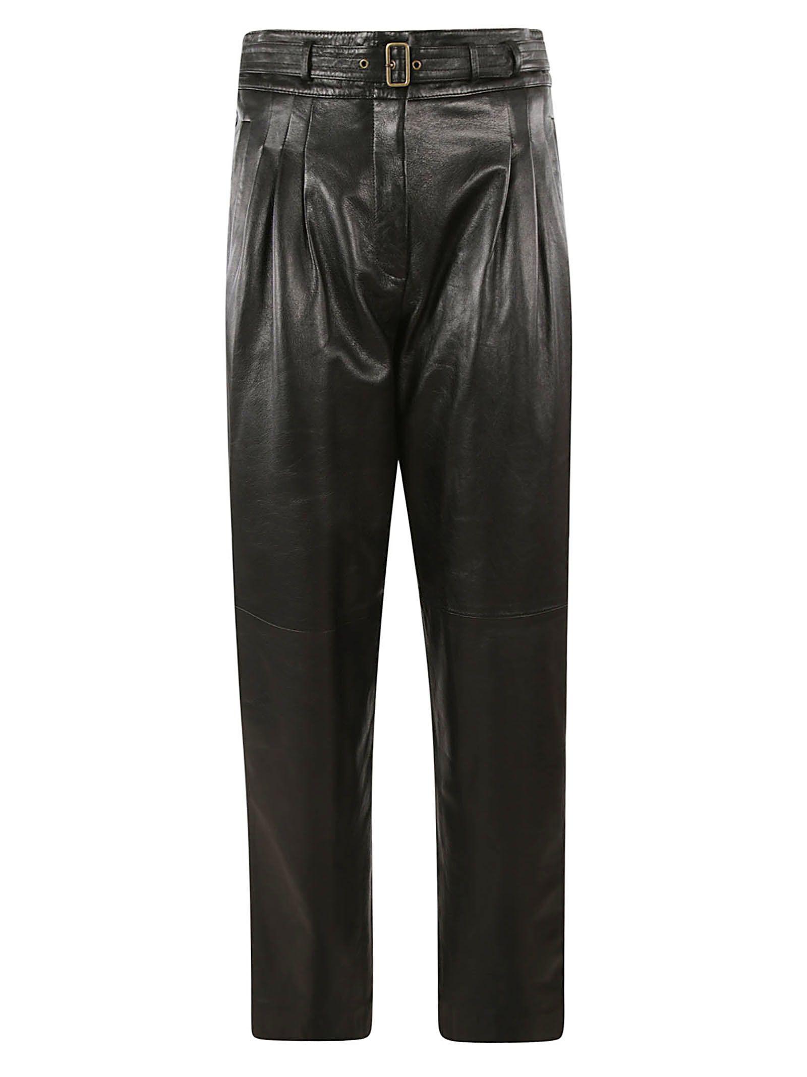 Alberta Ferretti Belted Glossy Trousers